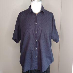 Madewell Courier Navy Blue Clipdot Shirt Medium